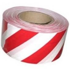 """Лента сигнальная оградительная """"Стандарт"""" бело-красная 75мм * 100м"""