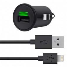 Автомобильное ЗУ Belkin USB MicroCharger (LIGHTNING сable, USB 2.1Amp), Черный