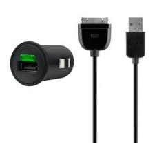 Автомобильное ЗУ Belkin USB MicroCharger (Apple 30-pin сable, USB 2.1Amp), Черный